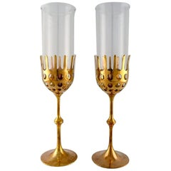"Bjørn Wiinblad Two ""Hurricane"" Candleholders in Brass, 1970s"