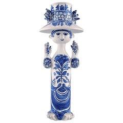 Bjørn Wiinblad Ceramics, Blue Lady with Two Birds. Decoration Number M35