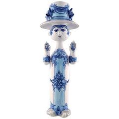 Bjørn Wiinblad Ceramics, Blue Lady with Two Birds, Decoration Number M36