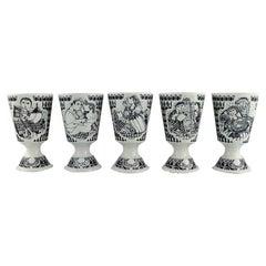 Bjørn Wiinblad for Nymølle, Five Cups / Mugs in Glazed Faience, 1970s / 80s