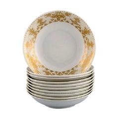 Bjørn Wiinblad for Rosenthal, 10 Deep Plates in Porcelain with Gold Decoration