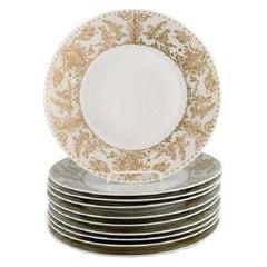 Bjørn Wiinblad for Rosenthal, 10 Dinner Plates in Porcelain with Gold Decoration