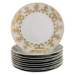 Bjørn Wiinblad for Rosenthal, 10 Plates in Porcelain with Gold Decoration, 1980s