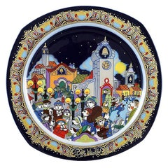 Bjørn Wiinblad for Rosenthal, Christmas Plate in Porcelain from 1988