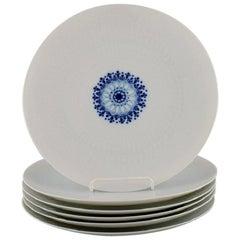 Bjørn Wiinblad for Rosenthal, Six Romanze Dinner Plates in White Porcelain