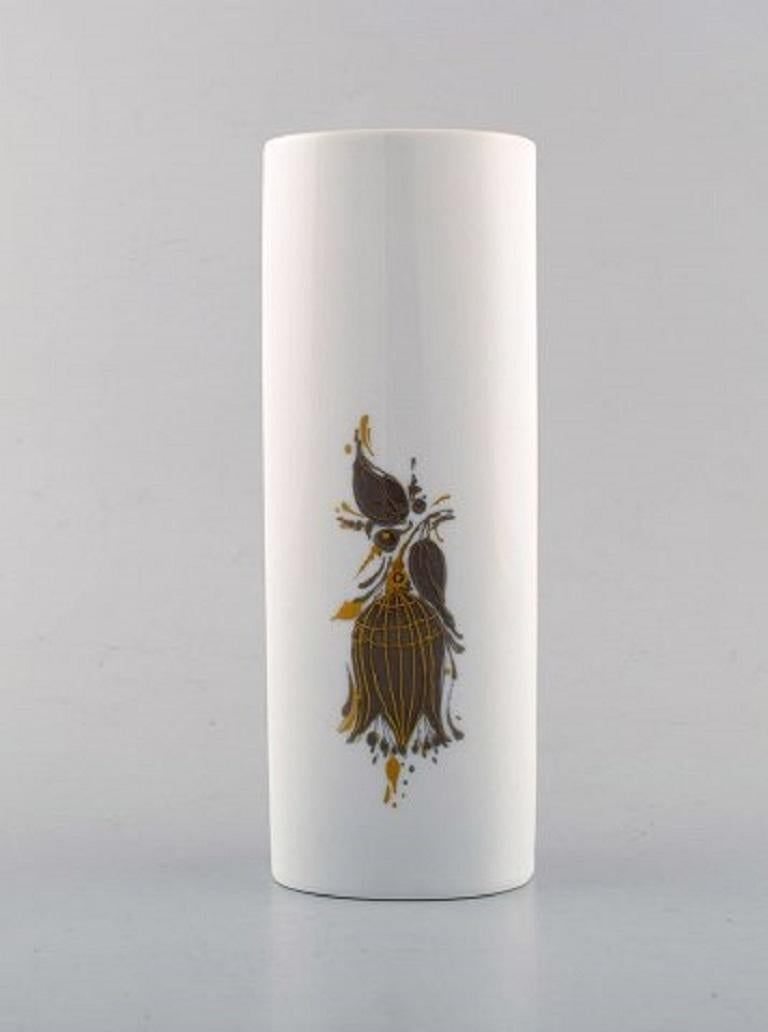 Bjørn Wiinblad for Rosenthal Studio Line. Porcelain vase decorated with woman and flowers, 1980s.