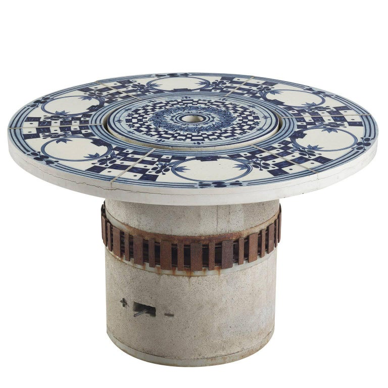 Bjørn Wiinblad Hibachi Patio Grill Table With Hand Painted Ceramic Top