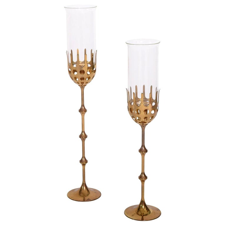 Bjørn Wiinblad Two Hurricane Brass Candlesticks For Sale