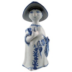 Bjørn Wiinblad Unique Ceramic Figure, Aunt, Stamp 1963, the Blue House
