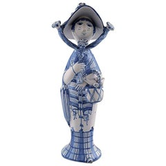 """Bjørn Wiinblad Unique Ceramic Figure """"Autumn"""" in Blue """"Seasons"""""""