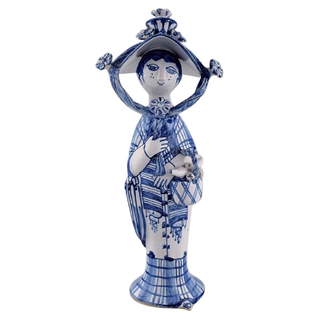 """Bjørn Wiinblad Unique Ceramic Figure, """"Autumn"""" in Blue """"Seasons"""""""