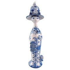 "Bjørn Wiinblad Unique Ceramic Figure, ""Spring"" in Blue ""Seasons"" from 1978"