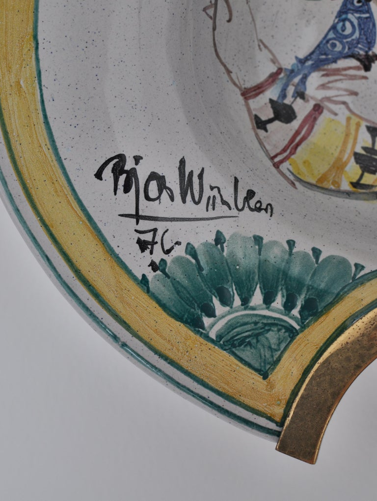 Bjørn Wiinblad Unique Wall Decorations / Candle Sconces in Hand Painted Faience For Sale 3