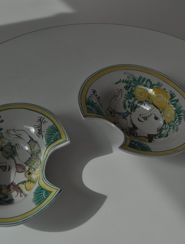 Bjørn Wiinblad Unique Wall Decorations / Candle Sconces in Hand Painted Faience For Sale 6