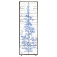 Bjørn Wiinblad, Very Large Rectangular Relief with Blue Glazed Tiles