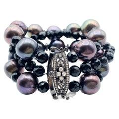 Bk-rhodium and Black Onyx Beaded Pearled Bracelet