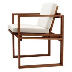 BK10 Dining Chair in Teak Oil with Sunbrella Beige Canvas Cushion by Bodil Kjær