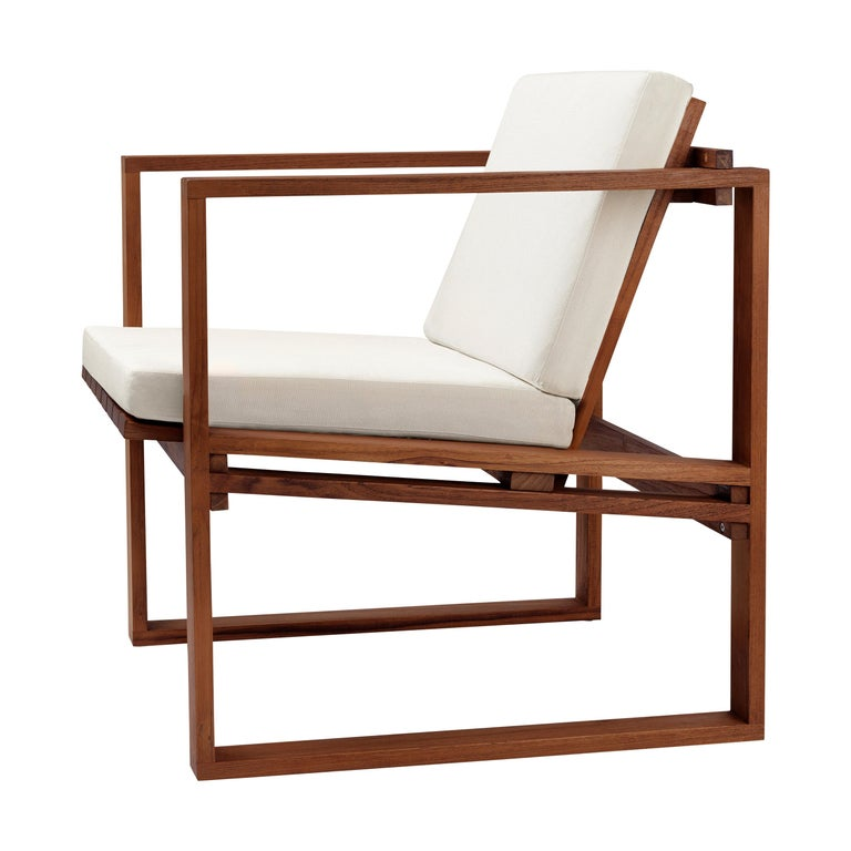 For Sale: Beige (Canvas 5453) BK11 Lounge Chair in Teak Oil with Cushions by Bodil Kjær