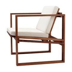 BK11 Lounge Chair in Teak Oil with Sunbrella Beige Canvas Cushion by Bodil Kjær