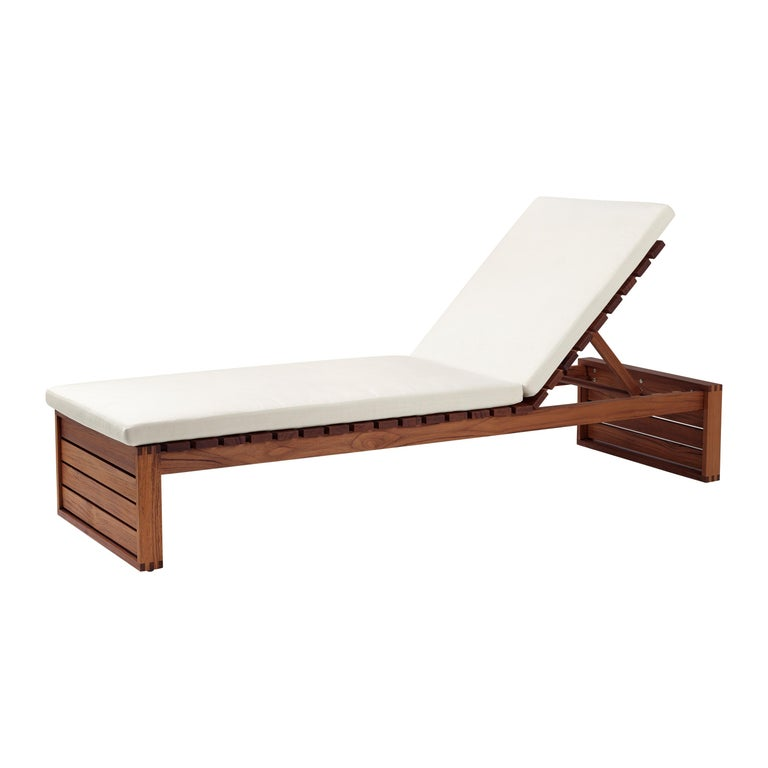 For Sale: Beige (Canvas 5453) BK14 Sunbed in Teak Oil with Cushions by Bodil Kjær