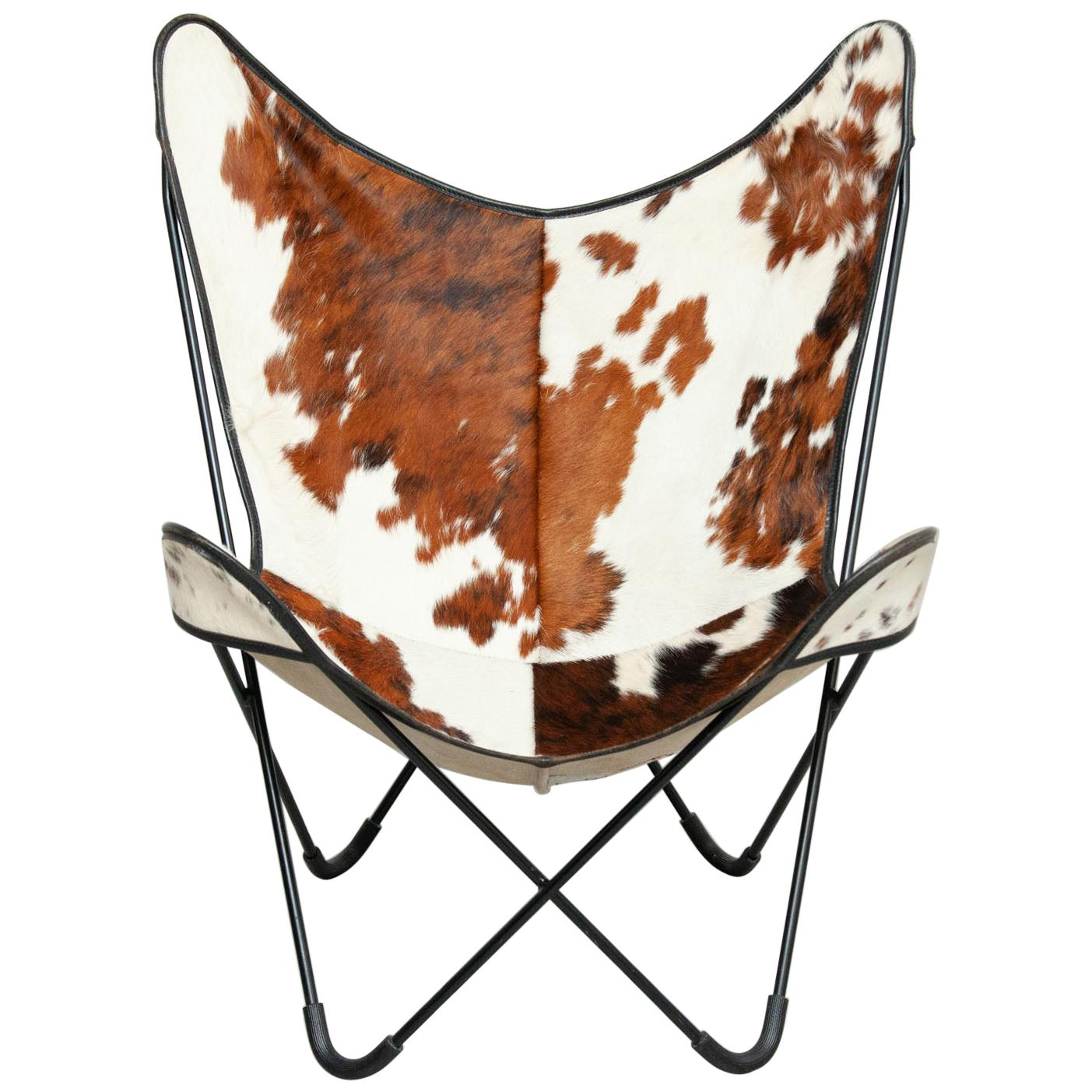 Bkf Butterfly Lounge Pony Leather Chair, circa 1980 by Pep Bonet