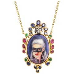 BL Bespoke Harlequin Masquerade Portrait Necklace