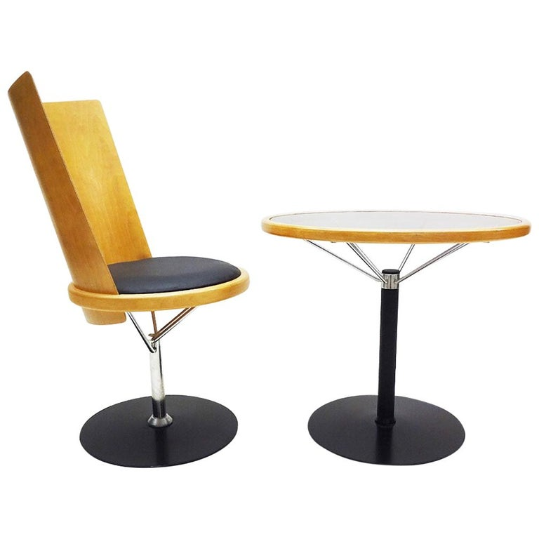 Blå Station Swedish Design Bentwood Side Chair and Table by Börge Lindau For Sale