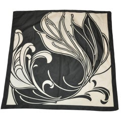 "Black & White ""Floral Portrait"" Scarf"