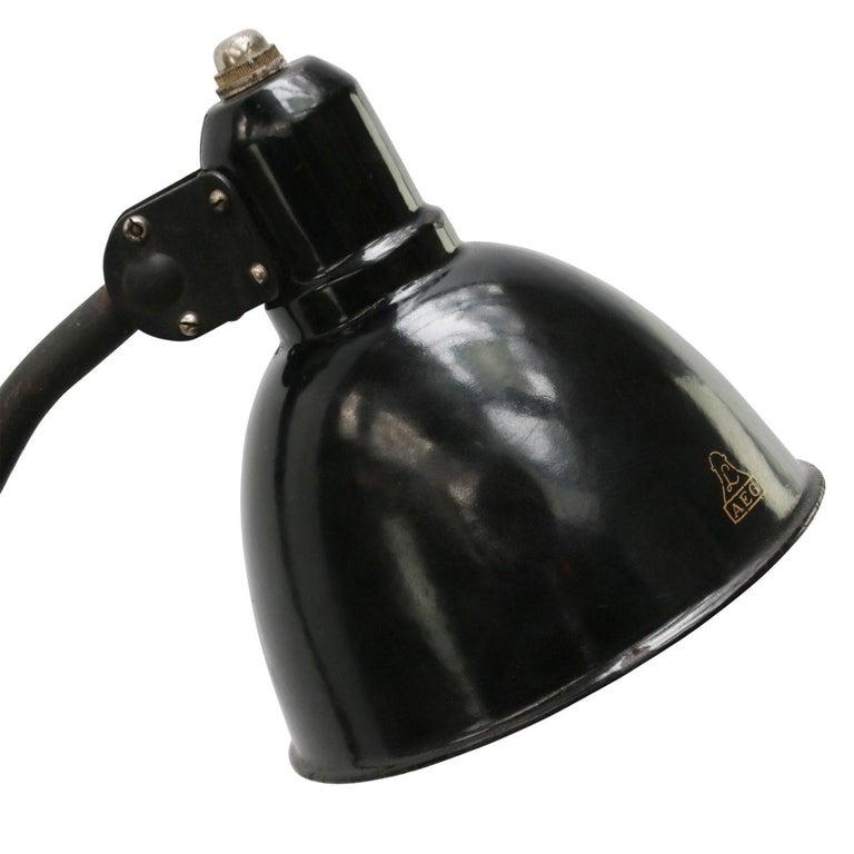 Industrial Black 2-Arm Metal Machinist Work Desk Light Peter Behrens AEG, 1920s For Sale