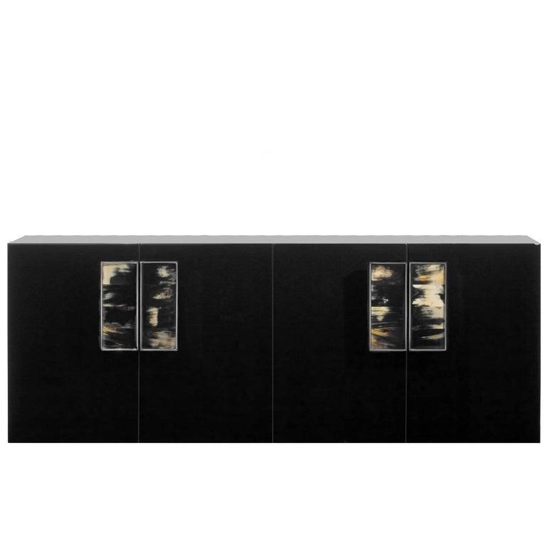 Black Four-Door Cabinet