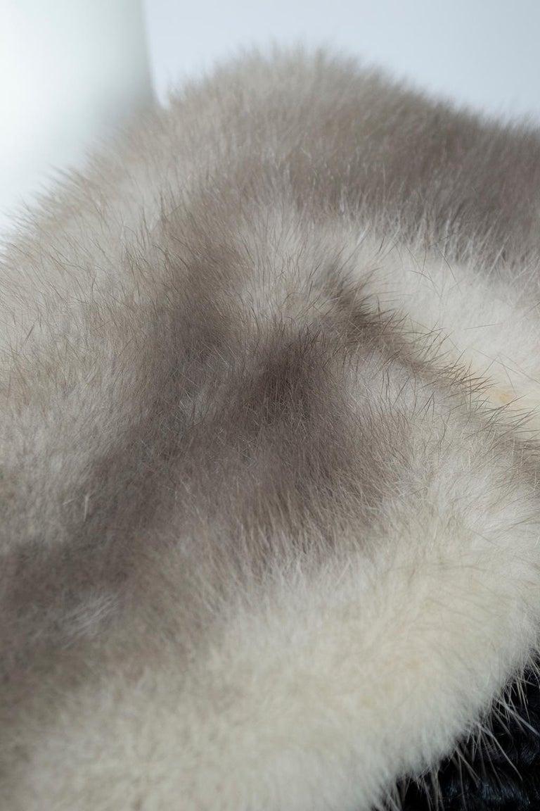 Black A-Line Astrakhan Fur Jacket with Silver Mink Collar – Large, 1950s For Sale 6