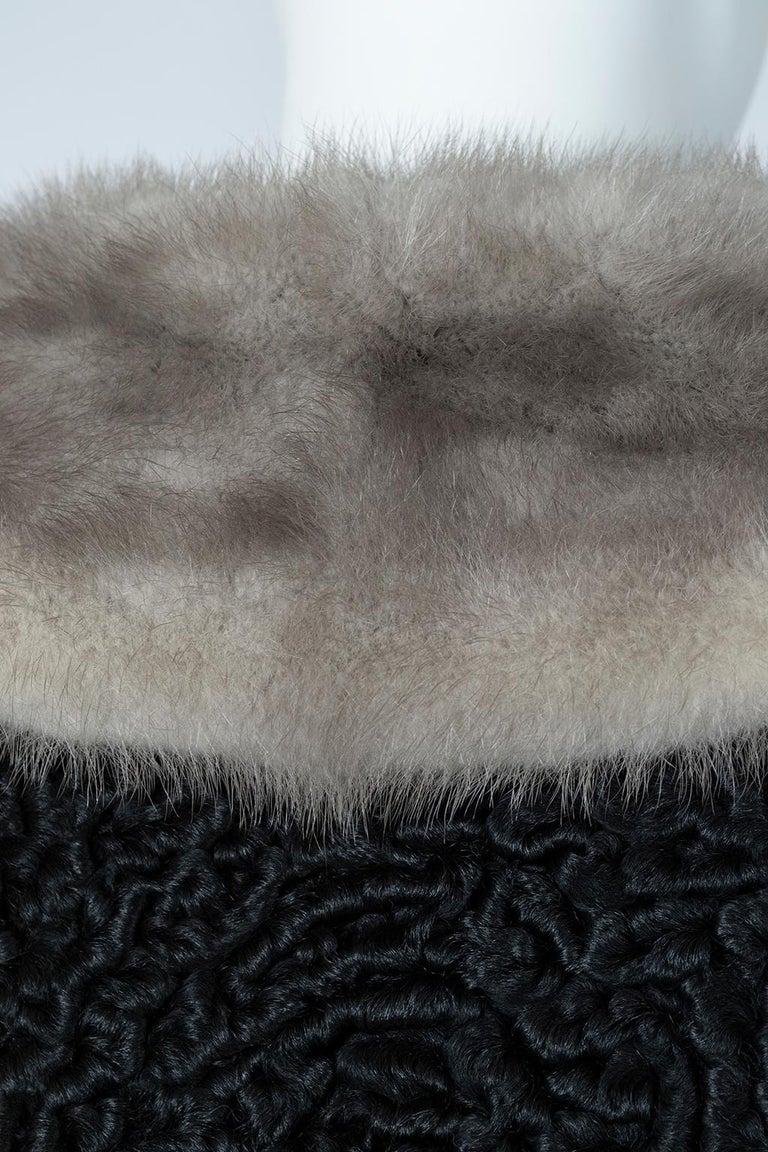 Black A-Line Astrakhan Fur Jacket with Silver Mink Collar – Large, 1950s For Sale 7
