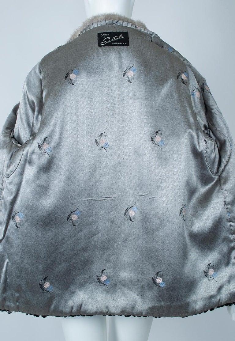 Black A-Line Astrakhan Fur Jacket with Silver Mink Collar – Large, 1950s For Sale 8