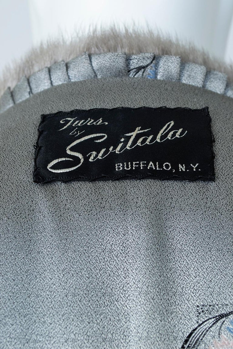 Black A-Line Astrakhan Fur Jacket with Silver Mink Collar – Large, 1950s For Sale 10