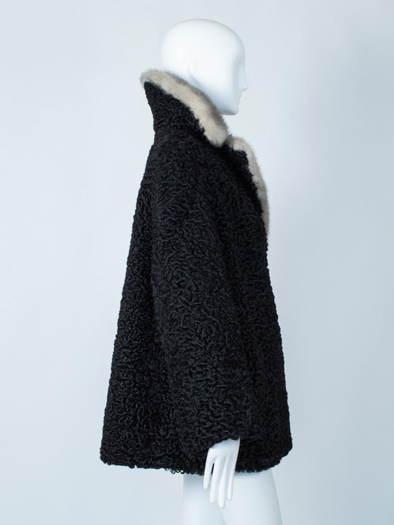 Black A-Line Astrakhan Fur Jacket with Silver Mink Collar – Large, 1950s In Good Condition For Sale In Tucson, AZ