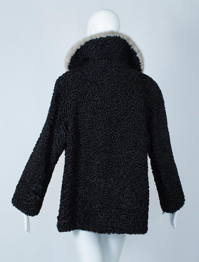 Women's Black A-Line Astrakhan Fur Jacket with Silver Mink Collar – Large, 1950s For Sale