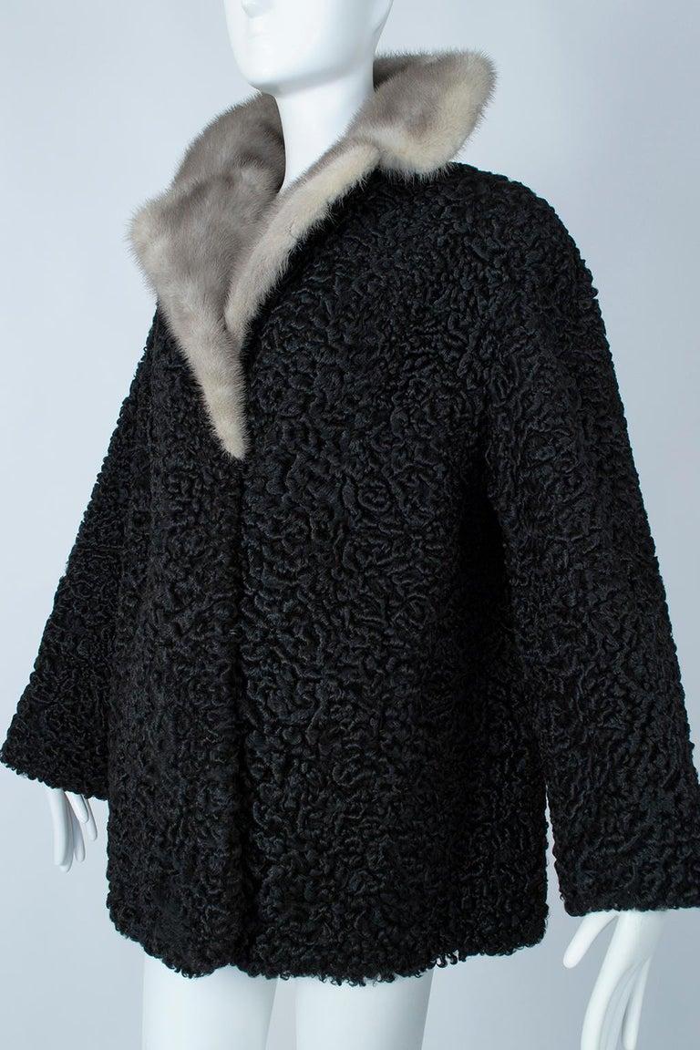 Black A-Line Astrakhan Fur Jacket with Silver Mink Collar – Large, 1950s For Sale 1