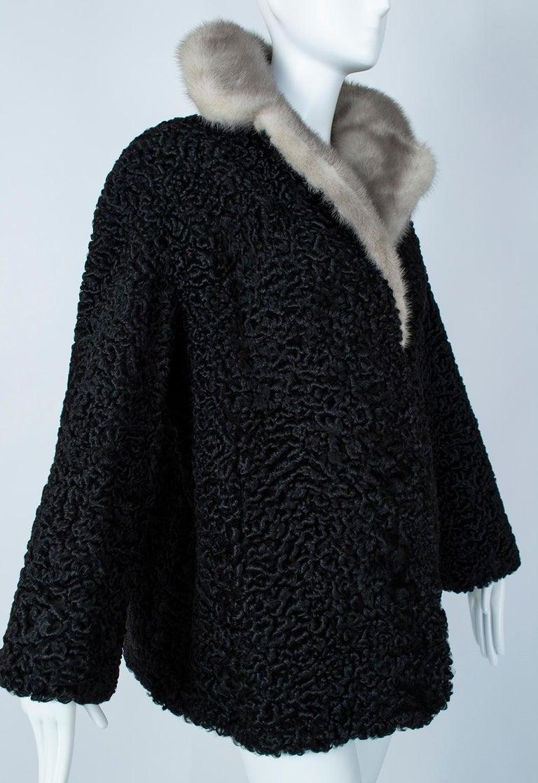 Black A-Line Astrakhan Fur Jacket with Silver Mink Collar – Large, 1950s For Sale 2