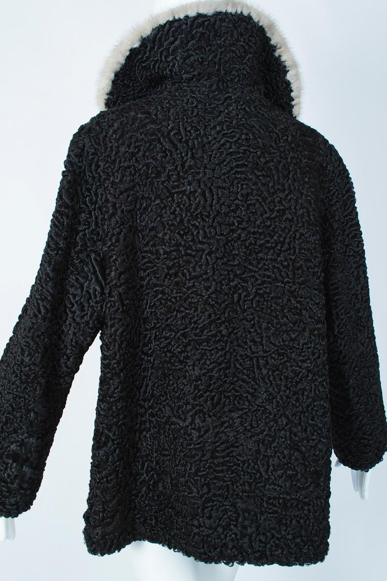 Black A-Line Astrakhan Fur Jacket with Silver Mink Collar – Large, 1950s For Sale 3