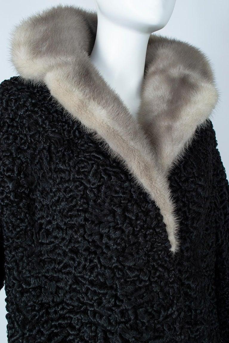 Black A-Line Astrakhan Fur Jacket with Silver Mink Collar – Large, 1950s For Sale 4