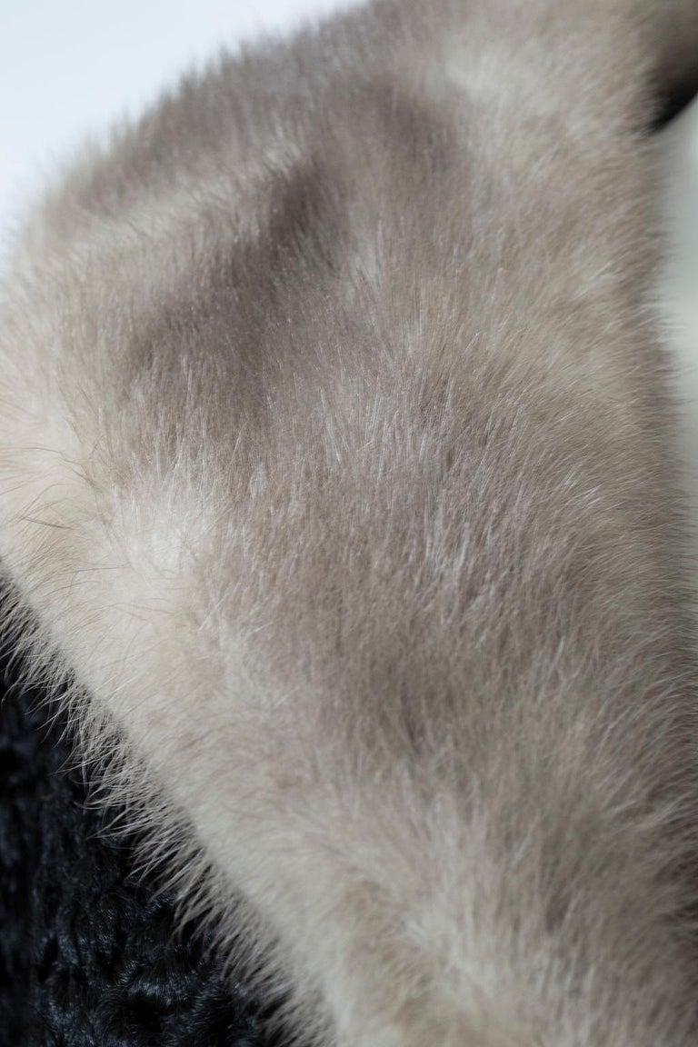 Black A-Line Astrakhan Fur Jacket with Silver Mink Collar – Large, 1950s For Sale 5