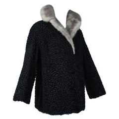 Black A-Line Astrakhan Fur Jacket with Silver Mink Collar – Large, 1950s