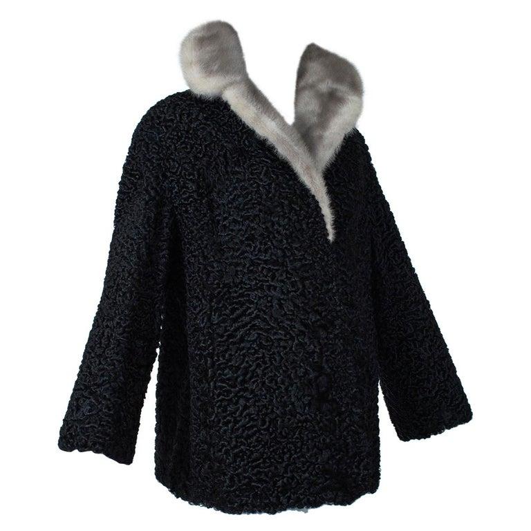 Black A-Line Astrakhan Fur Jacket with Silver Mink Collar – Large, 1950s For Sale