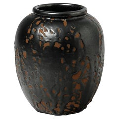 Black Abstract Art Deco Ceramic Vase by Cab Primavera 1930 Pottery
