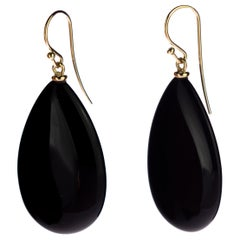 Black Agate 18 Karat Gold Cocktail Sharp Flat Tear Drop Dangle Long Art Earrings