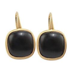 Black Agate 18 Karat Yellow Gold Earrings