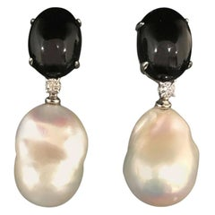 Black Agate and Diamond White Gold Chandelier Earrings