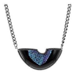 Black Agate and Titanium Druzy Pendant Necklace