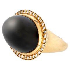 Black Agate Diamonds 18 Karat Gold Bezel Set Oval Cut Handmade Cocktail Ring