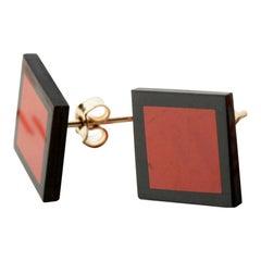 Black Agate Diaspro Gold Plate Stud Square Geometric Modern Chic Earrings